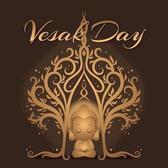 Événement de jour vesak design plat