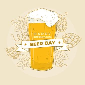 Événement de la journée de la bière avec un design dessiné à la main