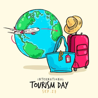 Événement de la journée du tourisme design dessiné à la main
