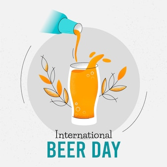 Événement de la journée internationale de la bière dessiné à la main