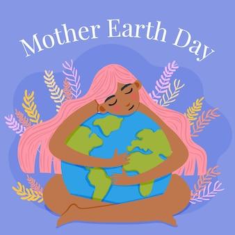 Événement de la journée internationale de la terre mère design plat