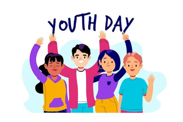 Événement de la journée de la jeunesse design dessiné à la main