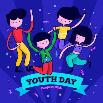 Événement de la journée de la jeunesse en design plat