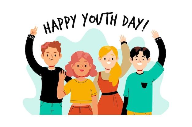Événement de la journée de la jeunesse de style dessiné à la main