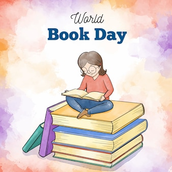 Événement de la journée mondiale du livre aquarelle
