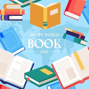Événement de la journée mondiale du livre plat