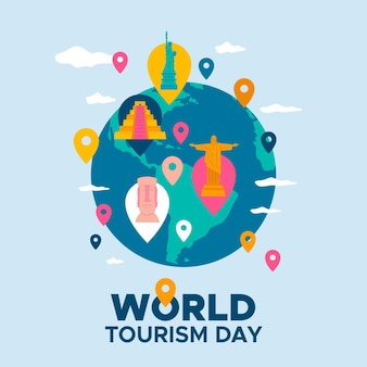 Événement de la journée mondiale du tourisme design plat