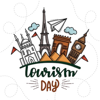 Événement de la journée mondiale du tourisme dessiné à la main