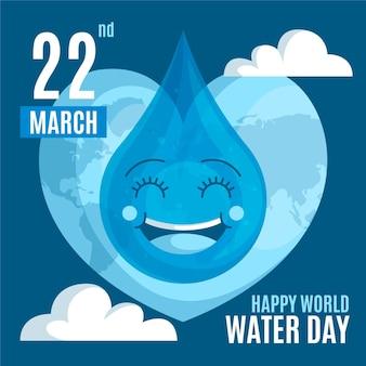 Événement de la journée mondiale de l'eau design plat