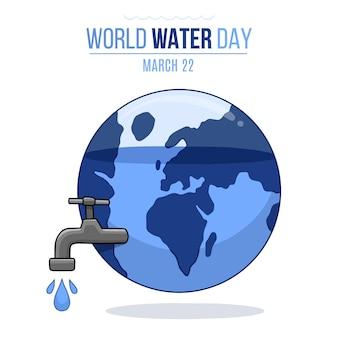 Événement de la journée mondiale de l'eau dessiné à la main