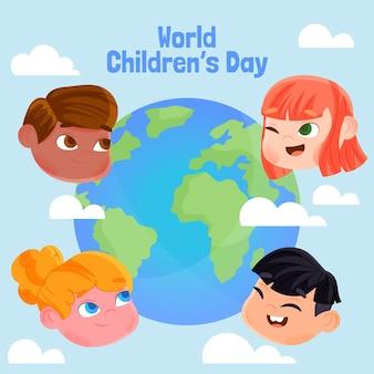Événement de la journée mondiale des enfants au design plat