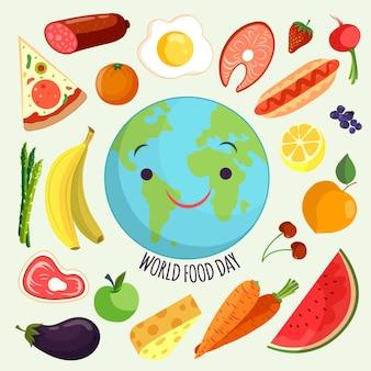 Événement de la journée mondiale de la nourriture dessinée à la main