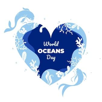 Événement de la journée mondiale des océans avec lettrage