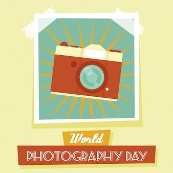 Événement de la journée mondiale de la photographie en design plat