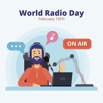 Événement de la journée mondiale de la radio plat illustré
