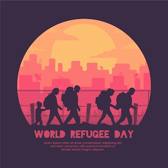Événement de la journée mondiale des réfugiés de silhouettes