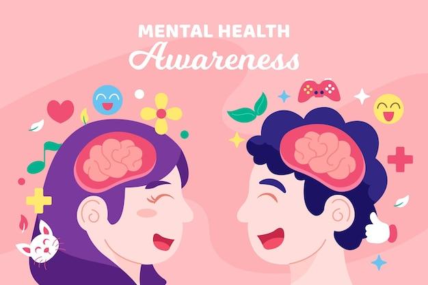 Événement de la journée mondiale de la santé mentale design plat