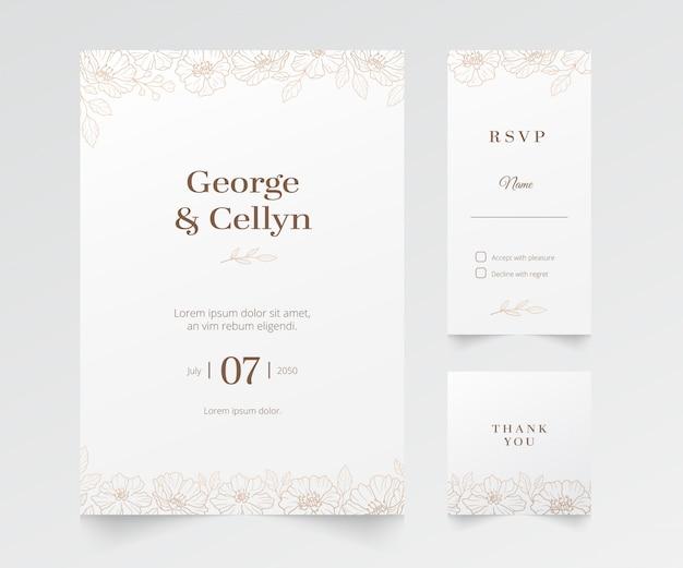 Événement minimaliste moderne et invitation de mariage