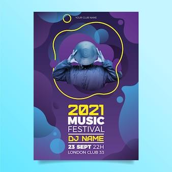 Événement musical en 2021 affiche avec photo