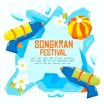 Événement songkran design dessiné à la main