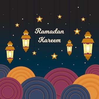 Événement traditionnel du ramadan et étoiles nocturnes