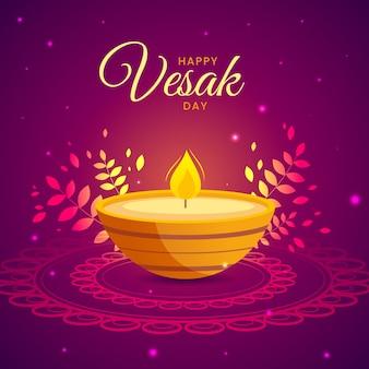 Événement vesak design plat avec des bougies