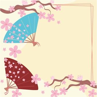 Éventail de cerisier et du japon