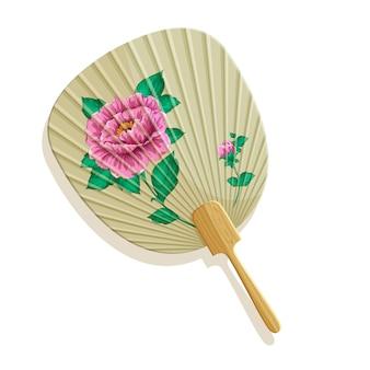 Eventail en papier japonais avec pivoines.