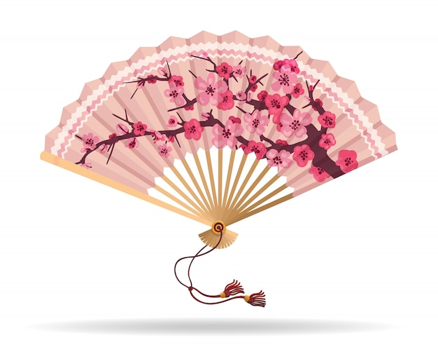 Eventail pliant de fleurs de cerisier du japon