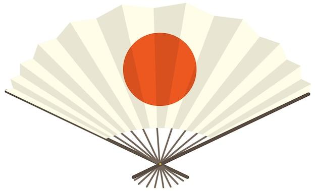 Éventail pliant japonais ou éventail avec le soleil rouge imprimé