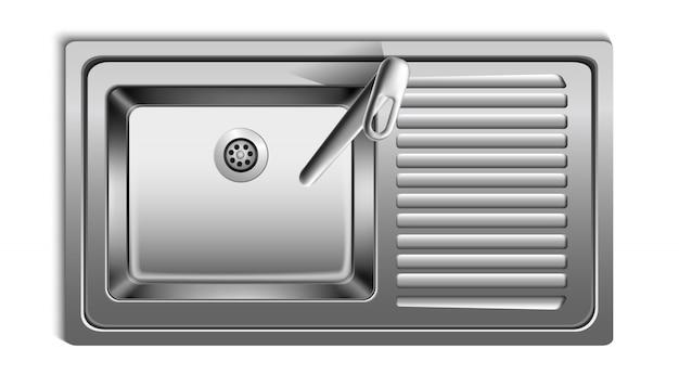 Évier en métal réaliste de vecteur de vue de dessus. isolé sur fond blanc.