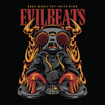 Evil beats hiphop style illustration