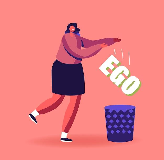 Évitement de l'égoïsme. un personnage féminin se débarrasse de son ego alors que la mauvaise habitude se jette dans la poubelle