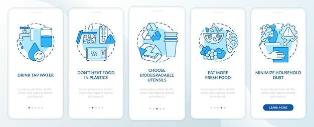 Éviter les conseils sur les microplastiques lors de l'intégration de l'écran de la page de l'application mobile avec des concepts. boire de l'eau du robinet en 5 étapes, instructions graphiques. modèle d'interface utilisateur avec illustrations en couleurs rvb