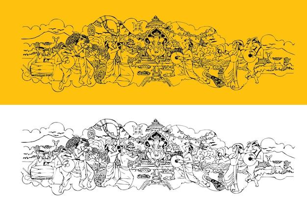 Évolutif montrant le festival de ganesh chaturthi célébré à travers l'inde maharashtra