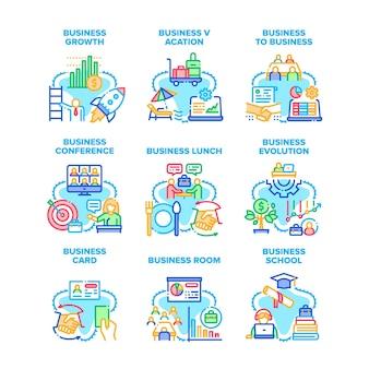L'évolution des affaires a défini des illustrations vectorielles d'icônes. conférence d'affaires et hommes d'affaires mangeant le déjeuner, la carte et la chambre, l'éducation scolaire et les cours, les illustrations de couleur de profit de vacances et de croissance