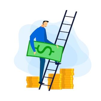 Évolution de carrière. réception du profit financier. vecteur.