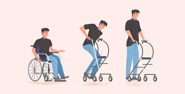 Évolution du patient homme handicapé assis en fauteuil roulant
