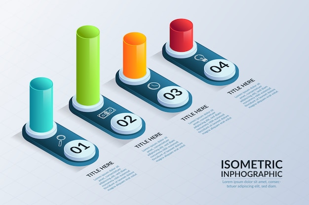 Evolution infographique isométrique