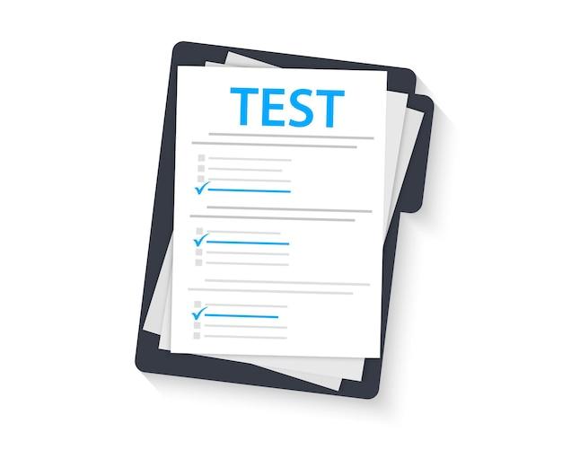Examen de concept, enquête, test. formulaire de test avec presse-papiers. marque de test sur un dossier. examen. réussir le test de connaissances et l'examen. test de qi. sondage en ligne. liste de contrôle, liste d'enquête sur internet, formulaire de test