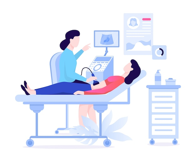 Examen échographique. médecin en clinique à l'aide de matériel médical