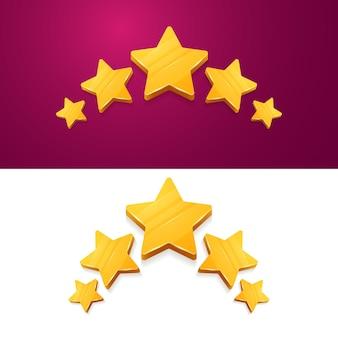 Examen de l'évaluation du produit client 3d cinq étoiles jaunes
