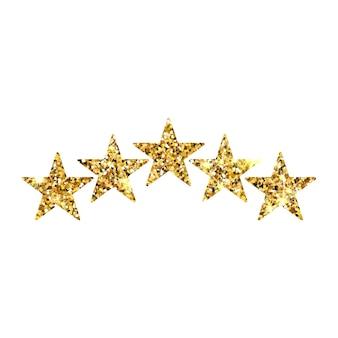 Examen de l'évaluation du produit par les clients avec cinq étoiles d'or. icône 5 étoiles d'or pour les applications et les sites web