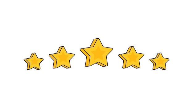 Examen de l'évaluation du produit par les clients cinq étoiles style plat moderne