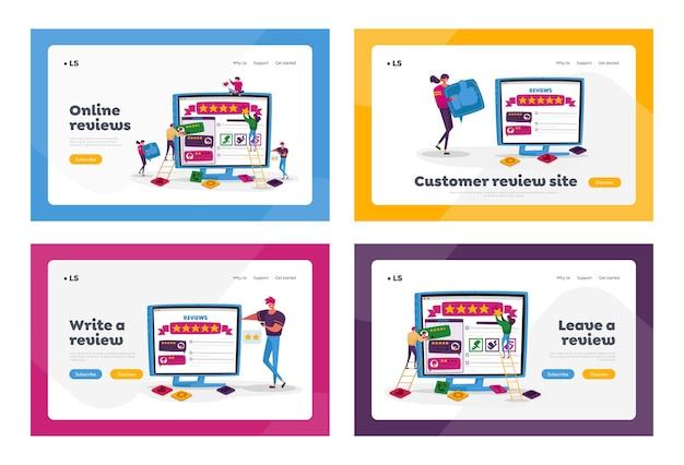 Examen en ligne des clients, classement, ensemble de modèles de page de destination de notation.