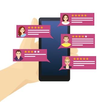 Examen en ligne des discours de bulles d'évaluation sur téléphone mobile