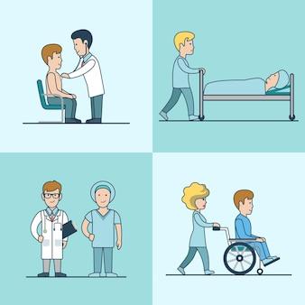 Examen médical plat linéaire, traitement, réanimation et sortie d'hôpital. personnages de médecin et de patient. soins de santé, concept d'aide professionnelle.