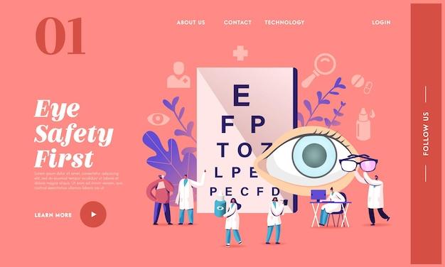 Examen d'opticien pour le modèle de page de destination du traitement du glaucome. ophtalmologiste docteur caractère vérifier la vue pour lunettes dioptrie. oculiste avec checkup eye sight. illustration vectorielle de gens de dessin animé