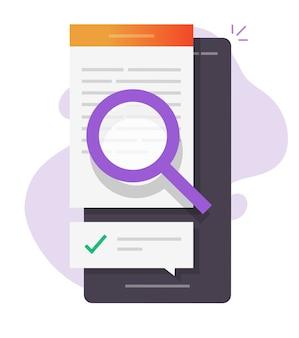 Examiner le contrôle de la qualité, l'expertise du contenu de la recherche de texte en ligne sur le téléphone