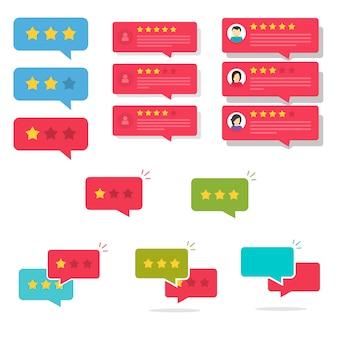 Examinez les discours de bulles de notation ou les messages de chat de rétroaction de témoignage avec de bonnes et de mauvaises étoiles de taux définies illustration cartoon plat